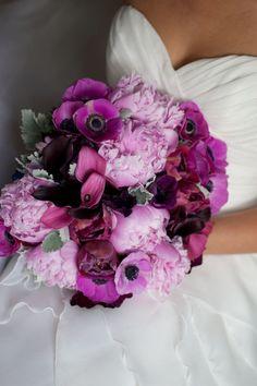 Anemones, Peonies, Calla lilies, Dusty Miller