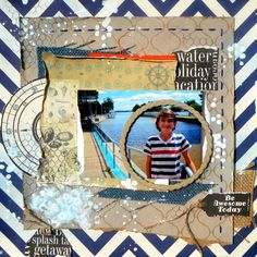 Bellaideascrapology - Nautical Scrapbook Layout with Canvas Corp Brands - 7gypsies and Canvas Home Basics - Nautical Papers and Embellishments