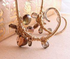 Andalusite gemstone encrusted vine earrings $75