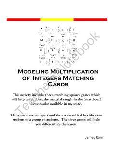 Modeling Multiplication of Integers Matching Cards from jamesrahn on TeachersNotebook.com -  (5 pages)  - These matching cards can be used following the use of the smart notebook file on Multiplication of Integers with Discs that is available in my store.