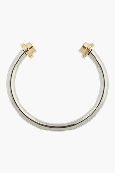 SAINT LAURENT Silver and gold two-nail bangle