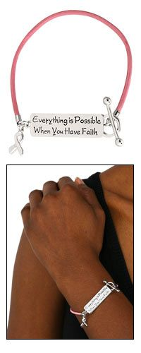 Everything Is Possible Pink Ribbon Bracelet at The Animal Rescue Site