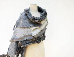 Big grey shawl wearable art felted wool Cozy warm by ZOJKAshop, $76.00