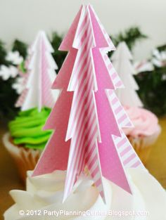 Free Printable Pink Peppermint Christmas Tree Cupcake Toppers