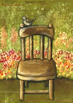Chair painting with bird