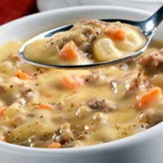 Crock Pot Potato Chowder: 8 cups potatoes (diced), 1/3 cup onion (chopped), 43ozs chicken broth, about 11ozs condensed cream of chicken soup, 8 ozs cream cheese (cubed, softened), 1/2 lb bacon (cooked and crumbled), chives