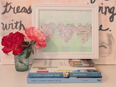 This DIY Ombré Map Heart Art shows his and her birthplace, plus where they met! The perfect gift (or piece of home décor) for newlyweds.