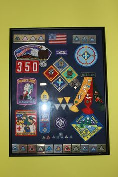 Cub scouts awards display.