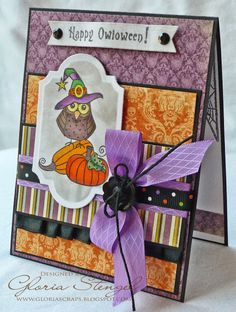 handmade Halloween card ... grorgeous print papers in purple and orange ... adorable owl on a pumpkin image  ... wonderful card and not scary at all ...