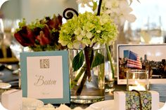 Travel theme wedding centerpiece