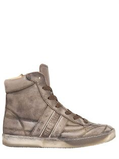 VINTAGED LEATHER HIGH TOP SNEAKERS