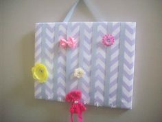 Lavender and White Chevron Hair  Hair Bow Holder. Organizer all your hairbows, headbands and hair clips in one place with this awesome Hair Bow Board