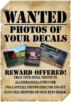 Email your decal photos to allison@decaljunky.com for a special coupon code! 15% off plus free shipping on your next order!