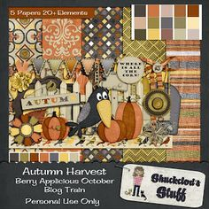 Scrapbooking Blog Train - October 2013, Berry Applicious, Autumn Harvest.  Lots of great digital scrapbooking freebies!