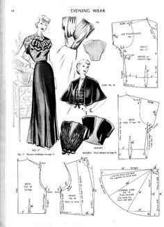 Illustration and chart for evening wear for Haslam Chart System, ca. 1951
