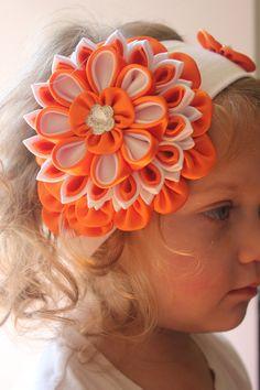 Sunshine kanzashi headband tsumami girl by YourUniqueCreations