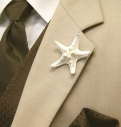 Starfish Boutonniere/Dress Pin/Hat Pin for by SeashellCollection, $7.00 - with beach grass or small flower?