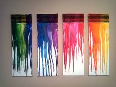 canvas art, decorating ideas, melted crayon art, melted crayons, kid rooms