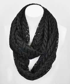 Loving this Black Chevron Lace Infinity Scarf on #zulily! #zulilyfinds