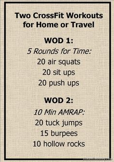 Two simple CrossFit WODs for home or travel.