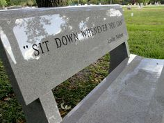"""Leslie Nielsen's gravesite, Evergreen Cemetery, Fort Lauderdale, FL """"Sit down whenever you can."""""""