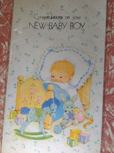 New Baby Boy card Congratulations on your by VioletnDaisyVintage, $2.00