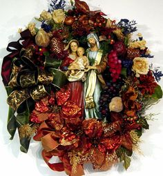 door Wreath Nativity Christmas Custom Holy by cabincovecreations,