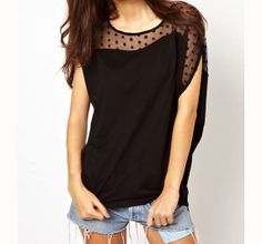 Hey, I found this really awesome Etsy listing at http://www.etsy.com/listing/174905497/black-lace-t-shirt-women-blouse