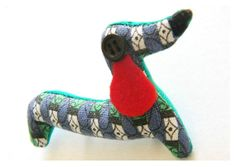 Sausage Dog Brooch - Ready For A Walk - Retro Geometric Cotton Fabric -  Dachshund Brooch With Black Button Eye - Animal Fabric Brooch