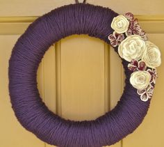 Deep Purple Yarn Wreath with Lace and Felt Flowers - Customizable