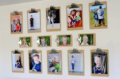Clipboard photo frames: really love this. Kids room? Youth room? Hmmm...