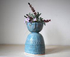Large lady ceramic candle holder or vase in pale blue glaze