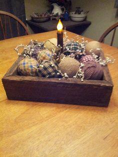 rag ball, primative decorating, table centerpieces, tabl centerpiec, making prim candles
