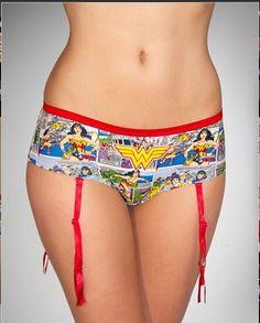 Wonder Woman Boy Shorts With Garters