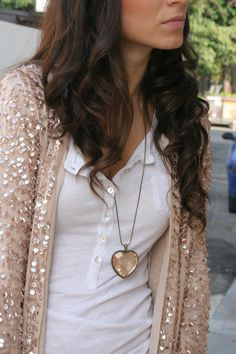 I want this cardigan!!!!! sweater, teen fashion, heart, sequin cardigan, white shirts, necklac, dress clothes, winter outfits, t shirts
