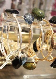 Stackable bangle bracelets of natural stones on gold or silver wires complement Aurora necklaces