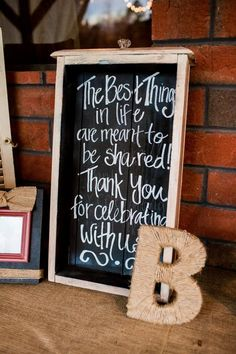 """""""The best things in life are meant to be shared!  Thank you for celebrating with us!"""" -- sign! Super cute!"""