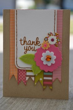 Thank You card idea using paper scraps  sm