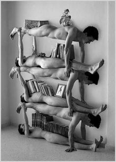 Easy to build book shelves living rooms, funni, shelving units, art, shelves, bookshelf, bookcas, furniture, human