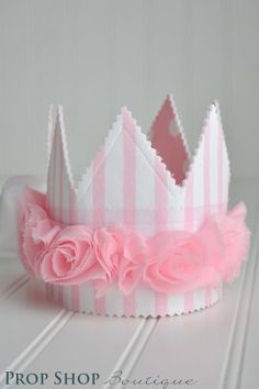 Girls Pink and White Rosette Fabric Crown