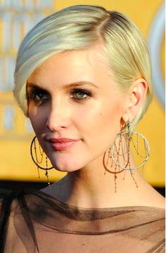 Short haircuts for women . ..Do you love short hair cuts? We've got all your short hair favorites from layered bobs to crops and pixies. Come on in, and check it out now!  Ashlee Simpson: sleek blonde bob with side bang