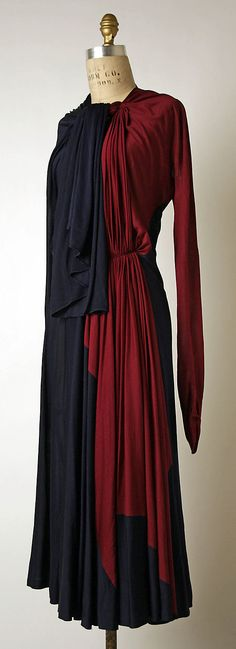 Afternoon Dress 1937, French, Made of silk