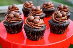Chocolate Malted Cupcakes - cute! Use this concept for Easter