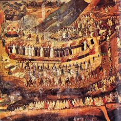 """Martyrs of Nagasaki. 16th-17th century Japanese painting, reproduction in Arnold Toynbee, """"A study of history"""" Japanese Author: unknown"""