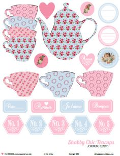 Free Printable Shabby Chic Teacup Elements.