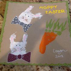 Hoppy Easter handprint bunnies and footprint carrot