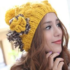 Flower Winter Warm Knitted Hat