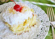 Tropical Pina Colada Poke Cake | FaveHealthyRecipes.com