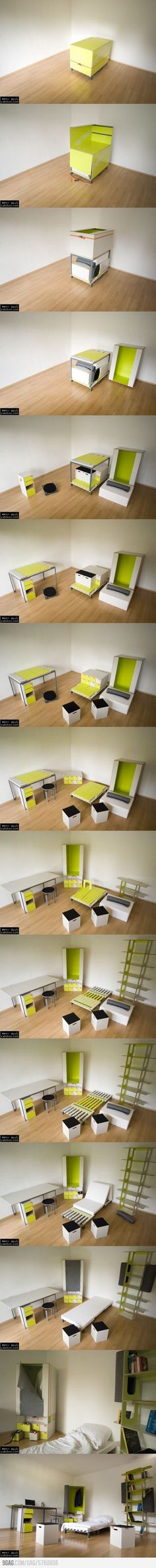 A Small Yellow Box that converts into a bedroom.