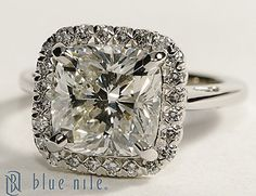 Halo Diamond Engagement Ring in Platinum #BlueNile